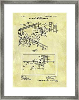 1899 Horse Racing Track Patent Framed Print by Dan Sproul