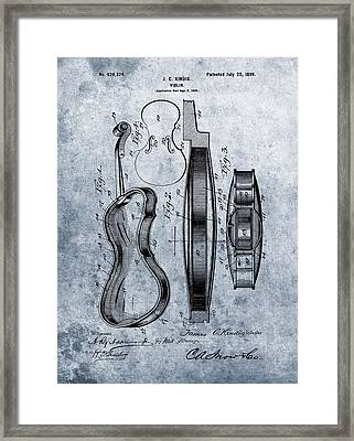 1899 Violin Blue Patent Framed Print by Dan Sproul
