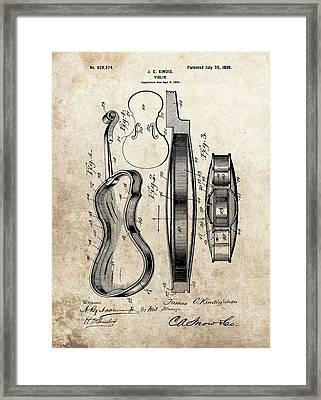 1899 Violin Patent Illustration Framed Print by Dan Sproul