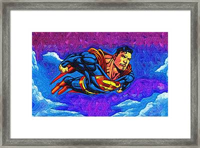 Superman Costume Framed Print by Egor Vysockiy