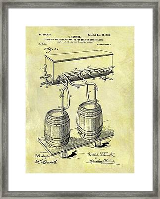 1900 Beer Cooler Patent Framed Print by Dan Sproul