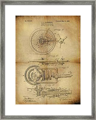 1900 Bicycle Gear Patent Framed Print by Dan Sproul