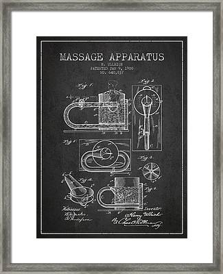 1900 Massage Apparatus Patent - Charcoal Framed Print by Aged Pixel