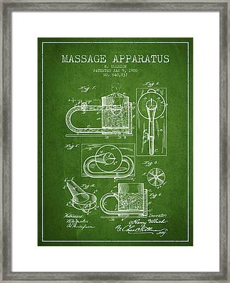1900 Massage Apparatus Patent - Green Framed Print by Aged Pixel
