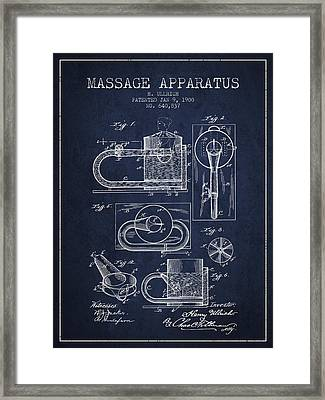 1900 Massage Apparatus Patent - Navy Blue Framed Print by Aged Pixel