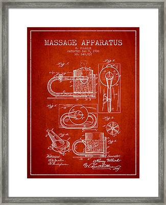 1900 Massage Apparatus Patent - Red Framed Print by Aged Pixel