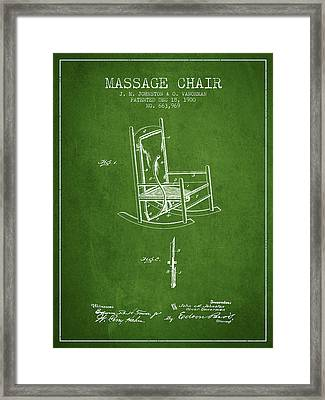 1900 Massage Chair Patent - Green Framed Print by Aged Pixel