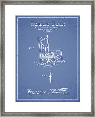 1900 Massage Chair Patent - Light Blue Framed Print by Aged Pixel