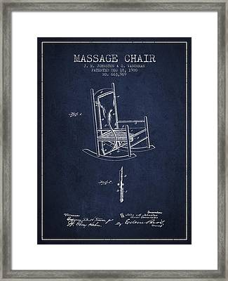 1900 Massage Chair Patent - Navy Blue Framed Print by Aged Pixel