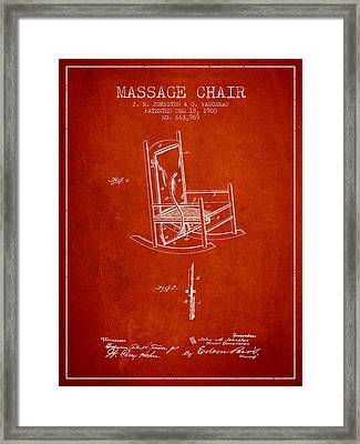 1900 Massage Chair Patent - Red Framed Print by Aged Pixel