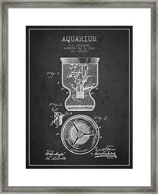 1902 Aquarium Patent - Charcoal Framed Print by Aged Pixel