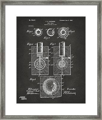 1902 Golf Ball Patent Artwork - Gray Framed Print by Nikki Marie Smith