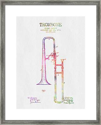 1902 Trombone Patent - Color Framed Print by Aged Pixel