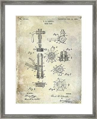 1903 Beer Tap Patent Framed Print by Jon Neidert