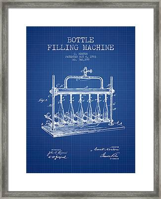 1903 Bottle Filling Machine Patent - Blueprint Framed Print by Aged Pixel