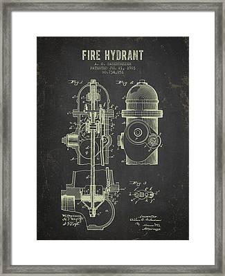 1903 Fire Hydrant Patent - Dark Grunge Framed Print by Aged Pixel