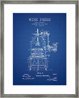 1903 Wine Press Patent - Blueprint 02 Framed Print by Aged Pixel