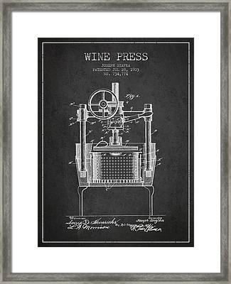 1903 Wine Press Patent - Charcoal Framed Print by Aged Pixel