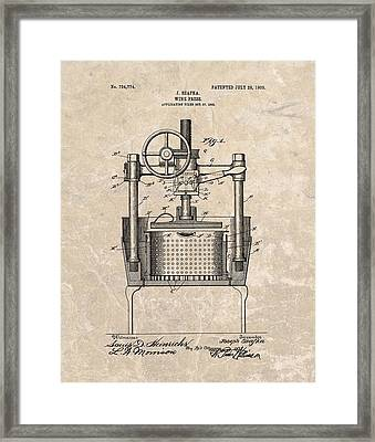 1903 Wine Press Patent Framed Print by Dan Sproul