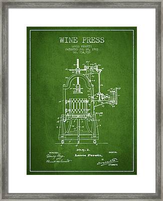 1903 Wine Press Patent - Green 02 Framed Print by Aged Pixel