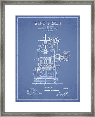 1903 Wine Press Patent - Light Blue 02 Framed Print by Aged Pixel