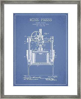 1903 Wine Press Patent - Light Blue Framed Print by Aged Pixel