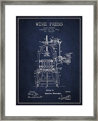 1903 Wine Press Patent - Navy Blue 02 Framed Print by Aged Pixel