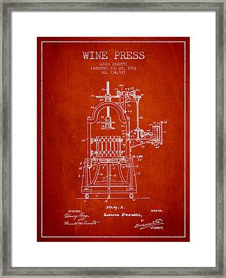 1903 Wine Press Patent - Red 02 Framed Print by Aged Pixel