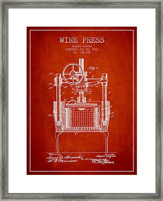 1903 Wine Press Patent - Red Framed Print by Aged Pixel