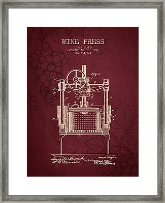 1903 Wine Press Patent - Red Wine Framed Print by Aged Pixel