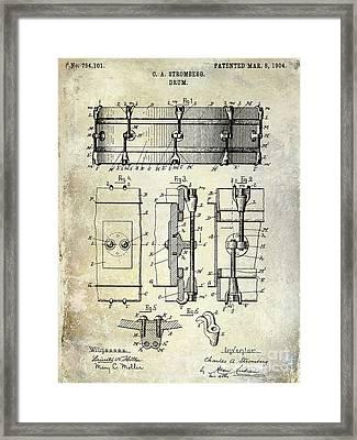 1904 Drum Patent Framed Print by Jon Neidert