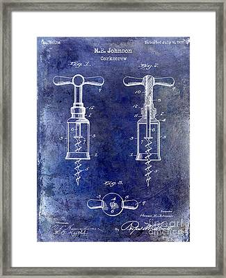 1907 Corkscrew Patent Blue Framed Print by Jon Neidert