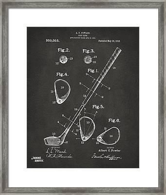 1910 Golf Club Patent Artwork - Gray Framed Print by Nikki Marie Smith