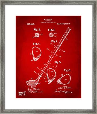 1910 Golf Club Patent Artwork Red Framed Print by Nikki Marie Smith