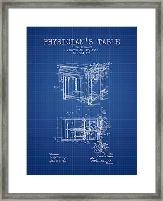 1910 Physicians Table Patent - Blue Print Framed Print by Aged Pixel