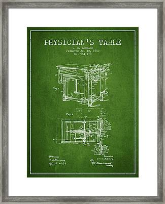 1910 Physicians Table Patent - Green Framed Print by Aged Pixel