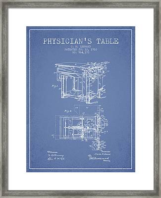 1910 Physicians Table Patent - Light Blue Framed Print by Aged Pixel