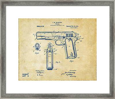1911 Colt 45 Browning Firearm Patent Artwork Vintage Framed Print by Nikki Marie Smith