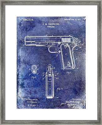 1911 Firearm Patent Blue Framed Print by Jon Neidert