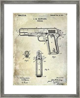 1911 Firearm Patent Framed Print by Jon Neidert