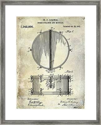 1912 Ludwig Drum Patent  Framed Print by Jon Neidert