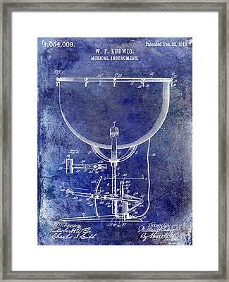 1913 Ludwig Drum Patent Blue Framed Print by Jon Neidert