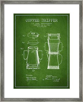 1914 Coffee Dripper Patent - Green Framed Print by Aged Pixel
