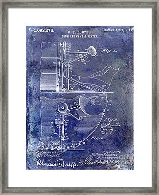 1914 Drum And Cymbal Patent Blue Framed Print by Jon Neidert
