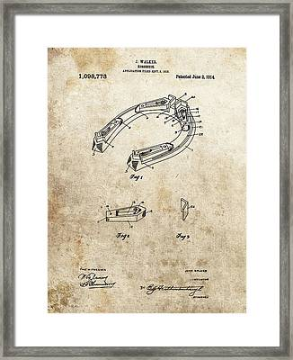 1914 Horseshoe Patent Framed Print by Dan Sproul