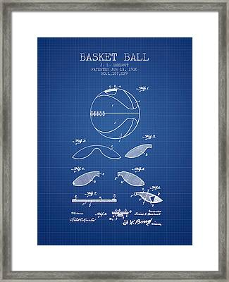 1916 Basket Ball Patent - Blueprint Framed Print by Aged Pixel