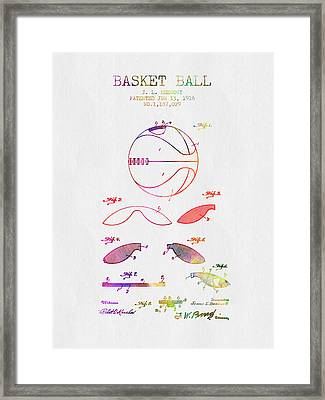 1916 Basket Ball Patent - Color Framed Print by Aged Pixel