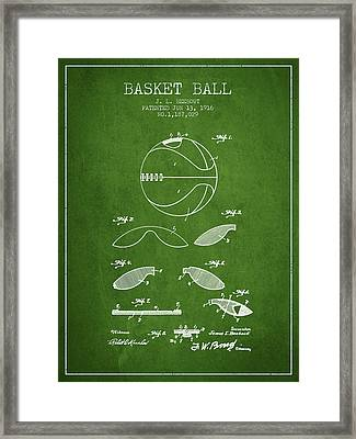 1916 Basket Ball Patent - Green Framed Print by Aged Pixel