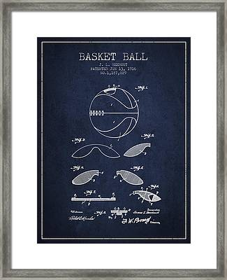 1916 Basket Ball Patent - Navy Blue Framed Print by Aged Pixel