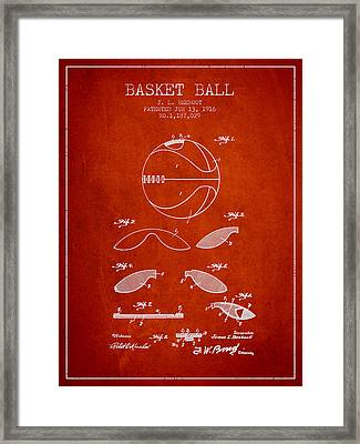 1916 Basket Ball Patent - Red Framed Print by Aged Pixel